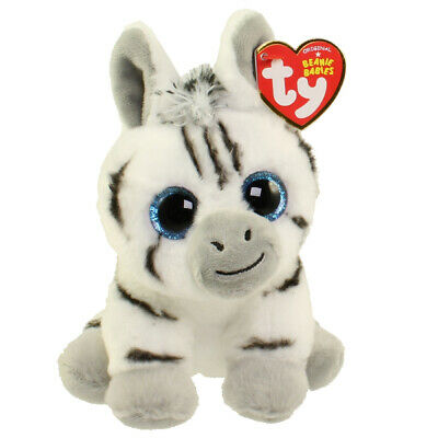 "Ty Beanie Baby Boo's 6"" Stripes the Zebra Stuffed Animal Plush New w/ Heart Tags"
