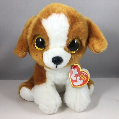 """Ty Beanie Baby Boo's 6"""" Snicky the Dog Stuffed Animal Plush New w/ Heart Tags"""