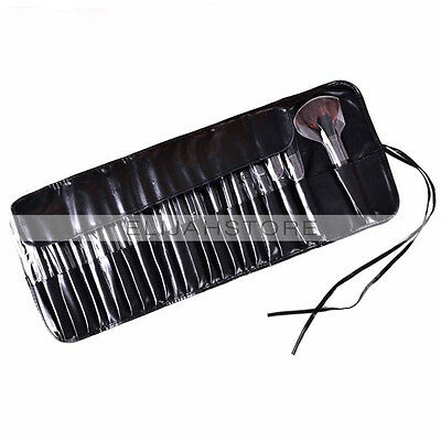24Pcs Black Professional Makeup Brush Cosmetic Tool Kit with Pouch Leather Bag