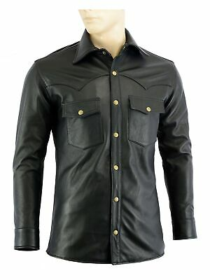 Men's Black Soft Leather Full Sleeve Button up Shirt W/ dual inside Pockets