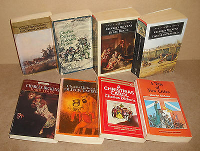 8 Charles Dickens lot Bleak House, Hard Times, Oliver Twist, David Copperfield,