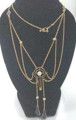 Antique Victorian Edwardian Gold Plated Ladies Chain Drop Necklace