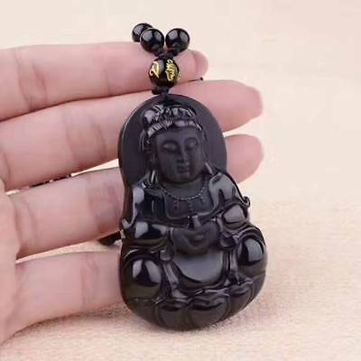 100% Natural Black Obsidian Carved Chinese GuanYin Lucky Pendant Necklace
