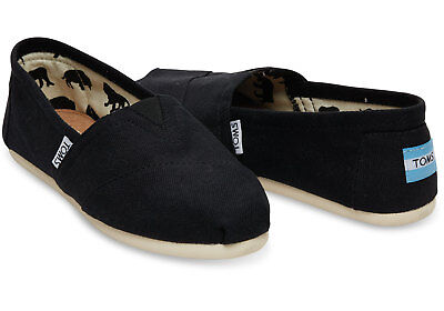 New Authentic TOMS BLACK CANVAS WOMEN'S CLASSICS Shoes US Size 5 - 8.5