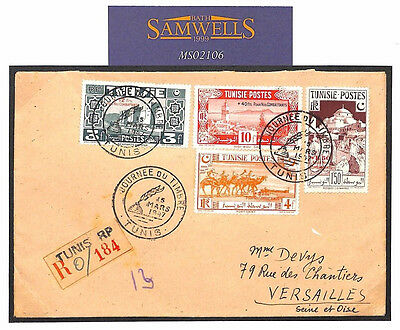 MS2106* France Colonies TUNISIA Stamp Day Registered *FORCES WELFARE FUND* Cover