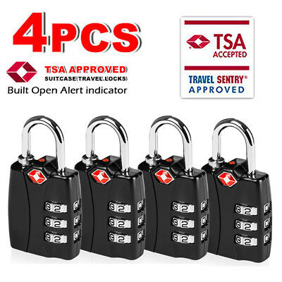 TSA Luggage Padlocks -Travel Locks With Search Alert For Suitcase & Backpack US