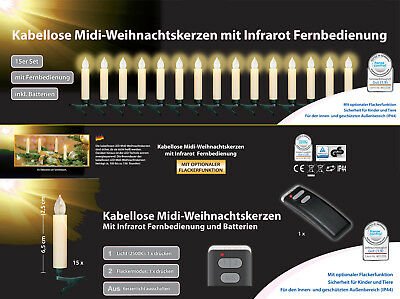 kabellose led weihnachtskerzen 15er lichterkette. Black Bedroom Furniture Sets. Home Design Ideas