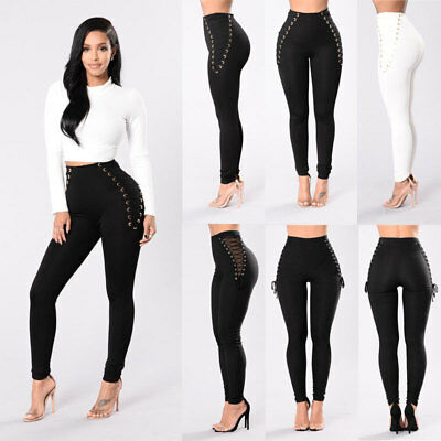 US Women Pencil Stretch Casual Look Denim Skinny Jeans Pants High Waist Trousers