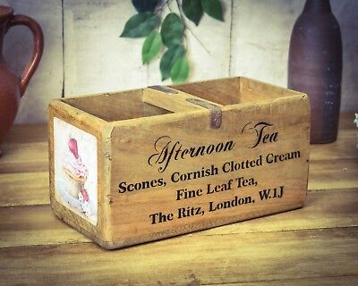 Vintage antiqued wooden box, crate, trug, Afternoon Tea