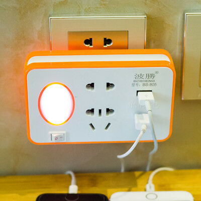 USB Converter Multi-Purpose Socket And Cnverter With A Small Night Lamp