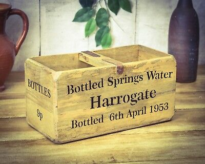 Vintage antiqued wooden box, crate, trug, Harrogate Spring