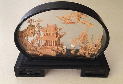 Vintage Chinese Diorama Large Cork Art Sculpture Lacquer Framed Original Sticker