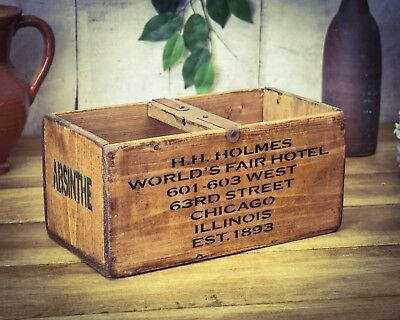 Vintage antiqued wooden box, crate, trug, Absinthe Box