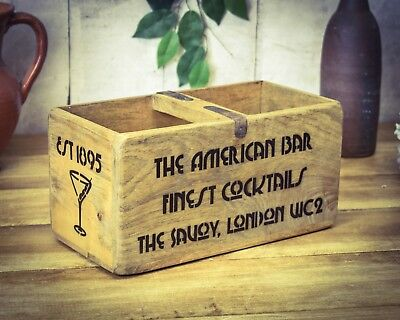 Vintage antiqued wooden box, crate, trug, 1920's Cocktails Box