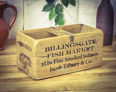 Vintage antiqued wooden box, crate, trug, Billingsgate Fish Box