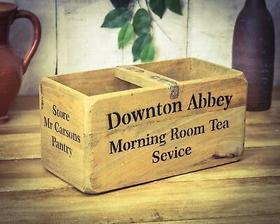 Vintage antiqued wooden box, crate, trug, Downton Abbey Box