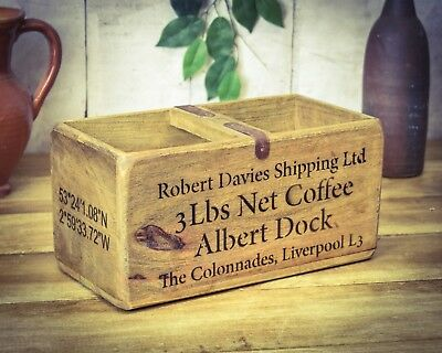 Vintage antiqued wooden box, crate, trug, Liverpool Docks Box