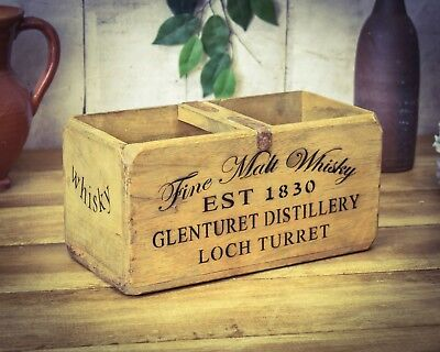 Vintage antiqued wooden box, crate, trug, Fine Whisky Box