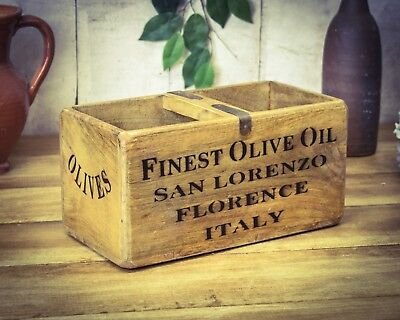 Vintage antiqued wooden box, crate, trug, Olive Oil Box