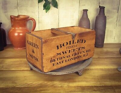 Vintage antiqued wooden box, crate, trug, Bethnal Green Boiled Sweets Box