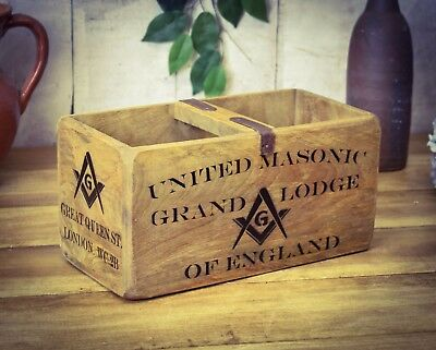 Vintage antiqued wooden box, crate, trug, Freemason Box