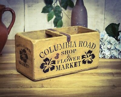 Vintage antiqued wooden box, crate, trug, Columbia Road Flowers Box