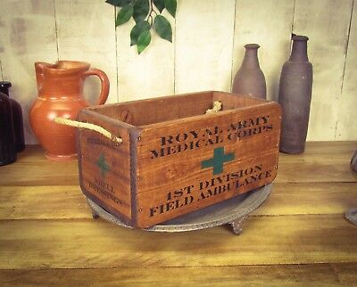 Vintage antiqued wooden box, crate, trug, First World War First Aid Box