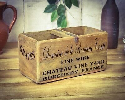 Vintage antiqued wooden box, crate, trug, French Wine Box
