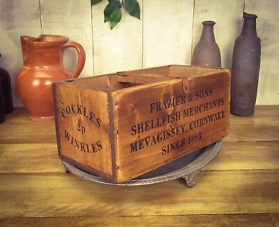 Vintage antiqued wooden box, crate, trug, Megavissy Cornwall Vintage Box