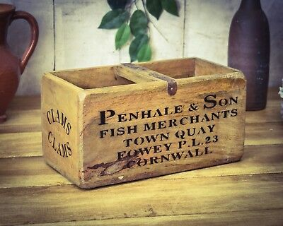 Vintage antiqued wooden box, crate, trug, Penhale Cornwall Fish Box