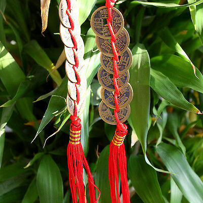 FENG SHUI FORTUNE Coin  Red Hanging Cure NEW Wealth Good Luck Prosperity MDAU
