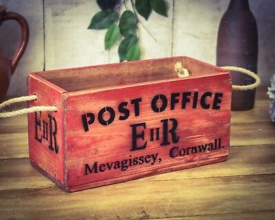 Vintage antiqued wooden box, crate, trug, Cornwall Post Office Sorting Box