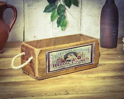 Vintage antiqued wooden box, crate, trug,  SMALL BOX, Cigars