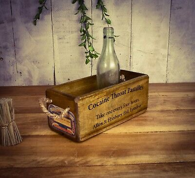 Vintage antiqued wooden box, crate, trug, SMALL BOX, Cocaine Throat Pastilles