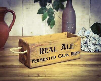 Vintage antiqued wooden box, crate, trug, SMALL BOX, Real Ale