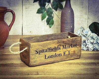 Vintage antiqued wooden box, crate, trug, SMALL BOX, Spitalfields Market