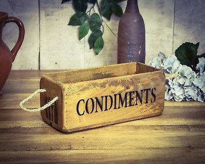 Vintage antiqued wooden box, crate, trug, SMALL BOX, Condiments