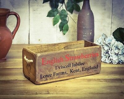 Vintage antiqued wooden box, crate, trug, SMALL BOX, English Strawberries Kent