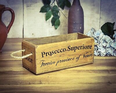 Vintage antiqued wooden box, crate, trug, SMALL BOX, Prosseco