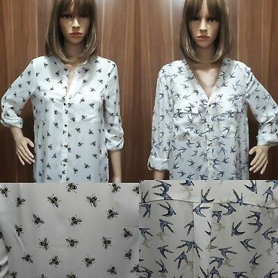 f9f13b9d2e8720 Ex Store Ladies Bee Print Swallow Bird Shirt Blouse CLEARANCE Last Size 6
