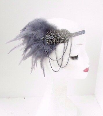 Dark Grey Silver Chain Feather Headband 1920s Flapper Headpiece Gatsby Vtg 3869