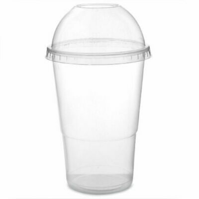 20oz Smoothie Cups With Dome Lids Sweet Cup Milkshake (100 Pack With 200 Straws)