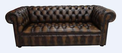 Chesterfield 3 Seater Buttoned Seat Antique Tan Leather Sofa Settee