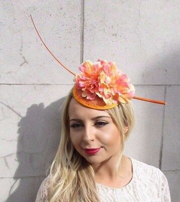 Orange Quill Feather Flower Fascinator Hat Hair Clip Races Peony Floral Vtg 3875
