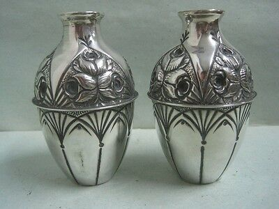 Antique lot of two small jars vase in silver art decó
