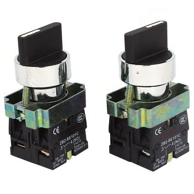 2 Pcs 2NO DPST 3 Positions Maintained Rotary Selector Switch 600V 10A O9I4