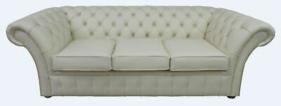 Chesterfield Balmoral 3 Seater Cottonseed Cream Leather Sofa Settee Brass Studs