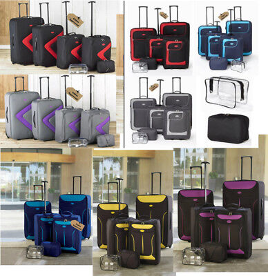 6 Piece Luggage Suitcase Set Blue Grey Purple Red Black Lightweight Suitcases