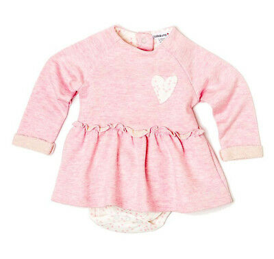 Baby Girls Flared Dress With Bodysuit Bottom Attachment - Pink (0-12 Months)