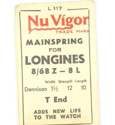 New Old Stock Nu Vigor Mainspring Longines 8/68Z - 8L Watch Part #l117